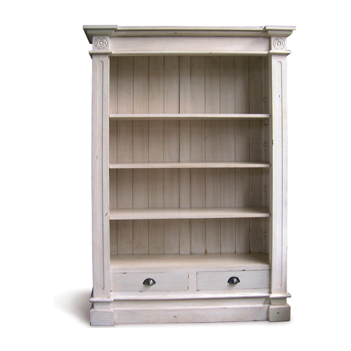 Cau Large Colonial Book Shelves White Distressed