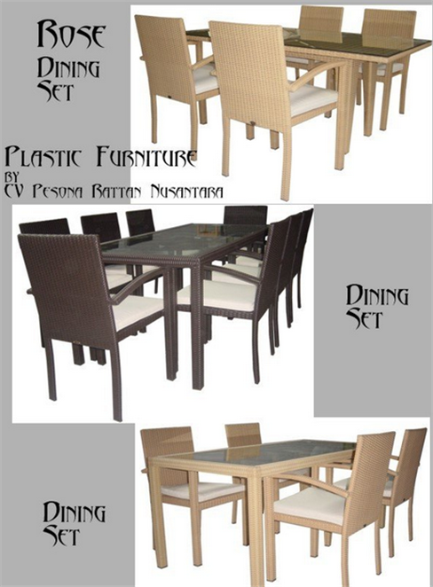 Buy Rose Dining Set In Synthetic Rattan
