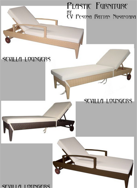 Buy Lounger In Synthetic Rattan