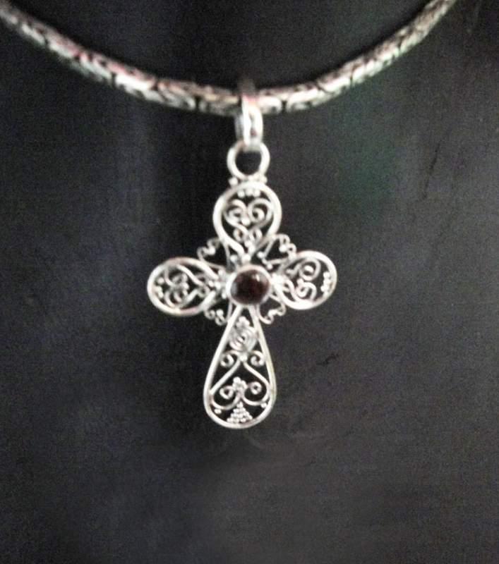 Buy Handcrafted Sterling Cross Garnet Pendant