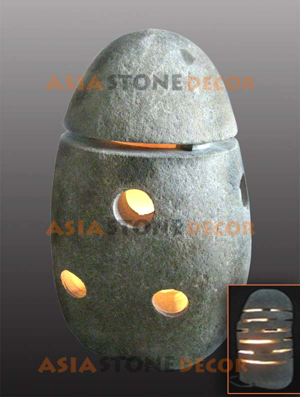 Buy Art Deco Lamp Made from Hollowed River Stone