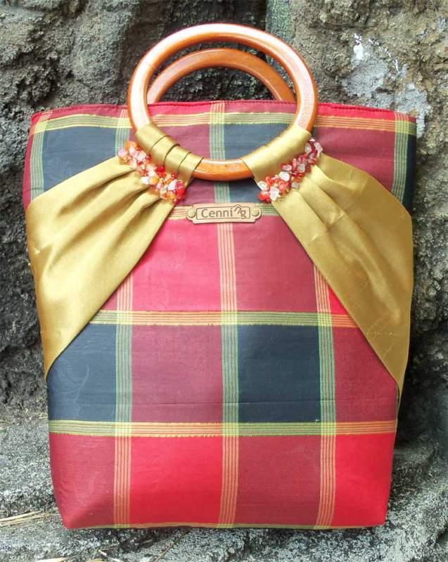 Buy Silk bag with wooden handles (silk 081)