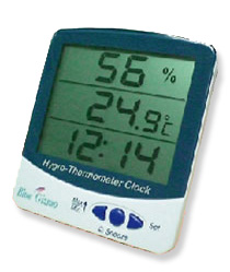 Buy BLUE GIZMO Big Display Thermo-hygrometer with clock Model: BG-HTC-01