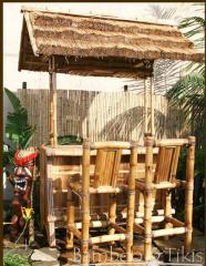 Bamboo tiki bar with palm roof
