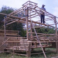 Bamboo gazebo on construction