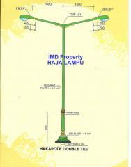Tiang Lampu Jalan PJU Hakapole Double Tee 6500