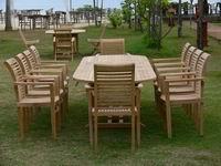 Teak garden Extd Table with 10 pcs