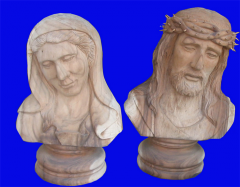 Statue Wooden Jesus & Mother Mary