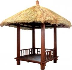 Coconut Gazebo, Parasol and Wooden House