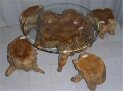 Teak burl table and chair set
