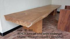 Solid teak bench with no connection size