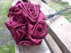 Ribbon Rose Bouquet Red Heart
