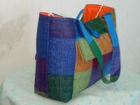 Bag blue plaid cotton