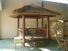 Bangkirai wood gazebo with coconut column and