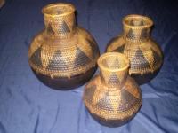 Woven wood flowerpot