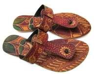 Hand painted  sandals leather