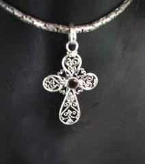 Handcrafted Sterling Cross Garnet Pendant