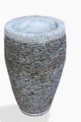 Stone Slate Garden Planter with Rough Rim