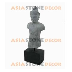 Ethnic Thai Male Stone Sculpture with Wood Base