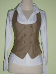Blouse with Beige Vest