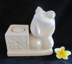 Frog Bali Stone Candle Holder