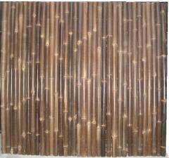Rolled black bamboo fencing