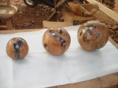 Teak Root Ball Set of 3 With Resin
