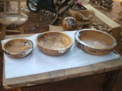Teak Root Bowl Set of 3 With Resin