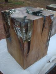 Teak root cube and resin