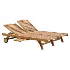 Teak Wood Double Classic Sun Lounger