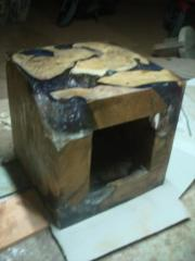 Teak Root Hollow Cube & Resin
