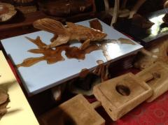 Teak Root Blue Resin Coffee Table
