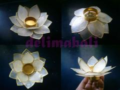 Capiz lotus candle holder