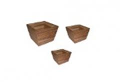 Wooden Line Flowerpot Set of 3